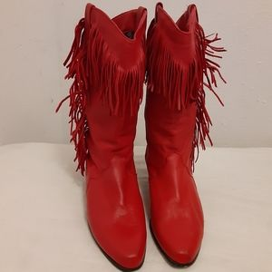 Bright red fringy cowgirl boots